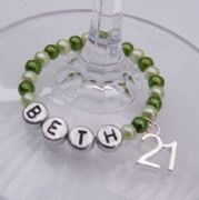 21st Birthday Personalised Wine Glass Charm - Full Bead Style